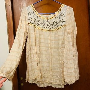 Free People Beaded Embroidered Tunic Long Sleeve